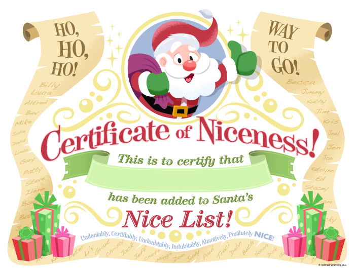 Free Printable Download Template Nice List Certificates From Santa ...