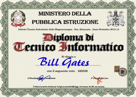 esempio diploma falso